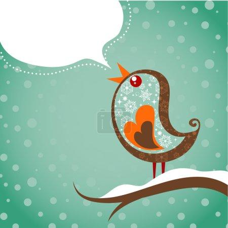 Retro Christmas background with bird