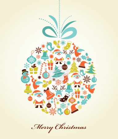 Photo for Christmas background with set of icons on the xmas ball, vector - Royalty Free Image