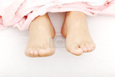 Photo pour Gros plan sur les pieds qui sort fron la feuille. - image libre de droit