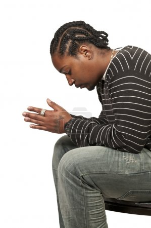 Photo for Black African Americanl Christian man in deep prayer - Royalty Free Image