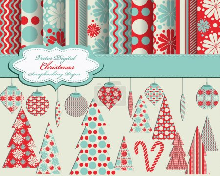Illustration for Set of Christmas vector paper and clip art for scrapbook - Royalty Free Image