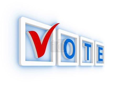 Photo pour Voter avec la case à cocher et des cases à cocher - image libre de droit