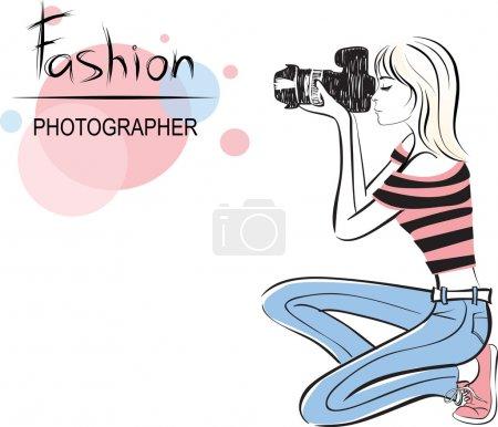 Illustration for Beauty fashion photographer girl. style vector illustration - Royalty Free Image