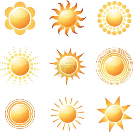 Illustration for Abstract sun icon collection. Colorful vector illustration - Royalty Free Image