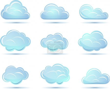 Illustration for Vector clouds collection. Weather icons for design. - Royalty Free Image