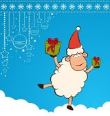 Cartoon funny Santa Claus sheep with gifts.
