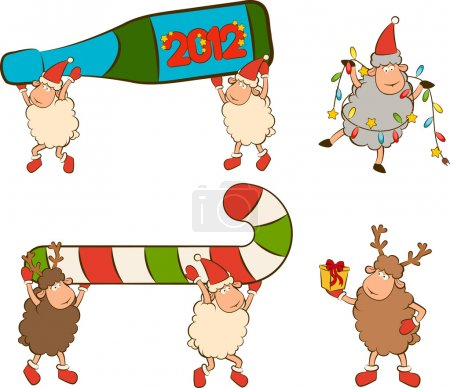Christmas funny sheep with gifts set
