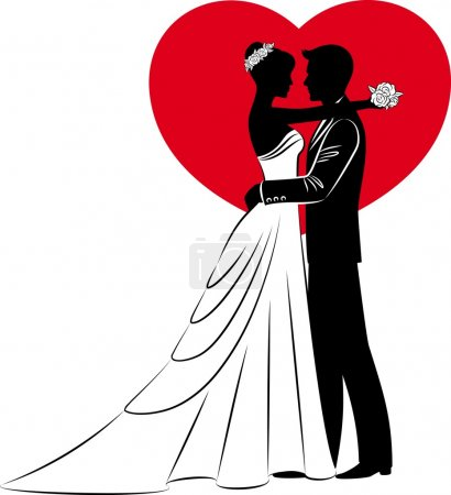 Vector Illustration of beautiful bride and groom silhouette