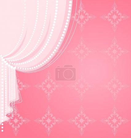 Illustration pour Rideau rose - image libre de droit