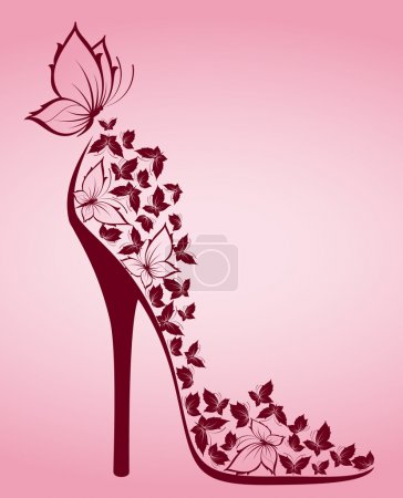 High heel shoes from beautiful butterflies. Vector...