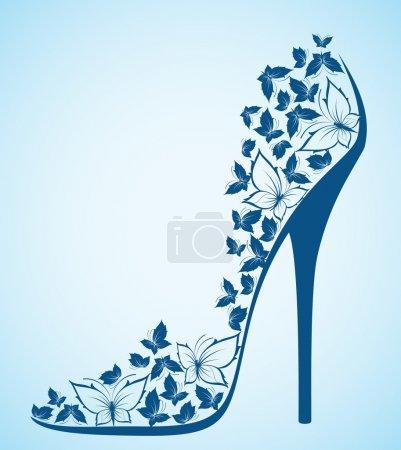 High heel shoes from beautiful butterflies. Vector