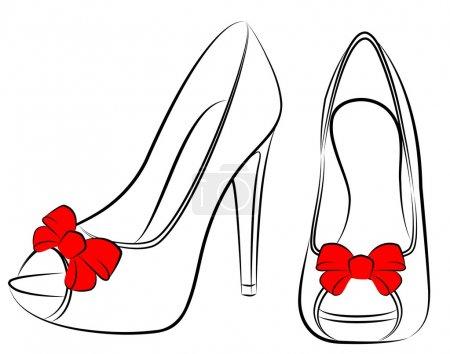 Illustration pour Belle paire de chaussures avec talon haut - image libre de droit