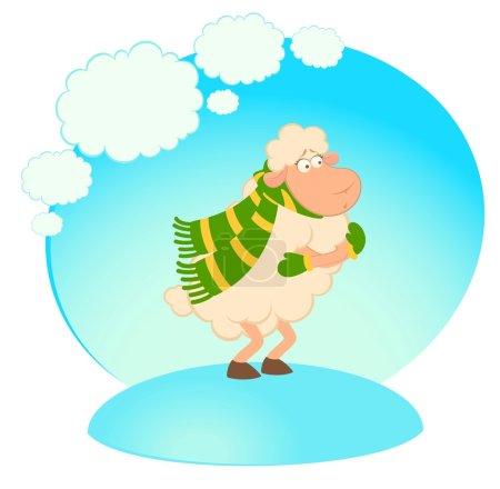 Illustration pour Dessin animé drôle moutons gèle dans une écharpe . - image libre de droit