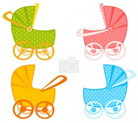 Vector scribble baby carriage