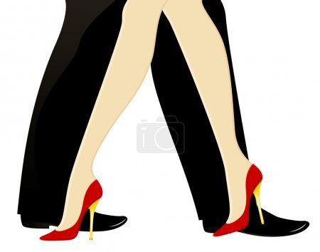 Illustration for Beautiful womanish and masculine legs dance a tango - Royalty Free Image