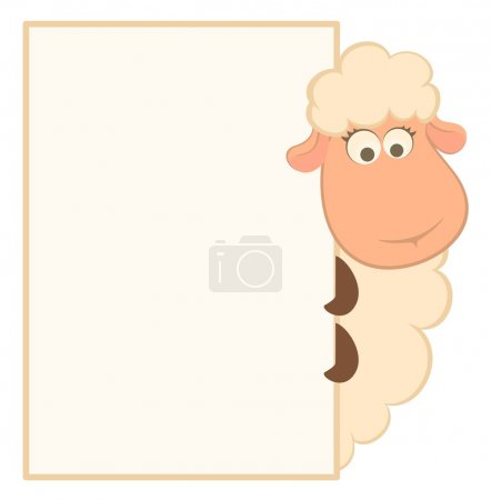 Illustration for Vector illustration of cartoon sheep with frame - Royalty Free Image
