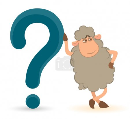 Cartoon sheep pushes a question-mark on a white background