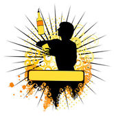 Vector silhouette of barman showing tricks with a bottle
