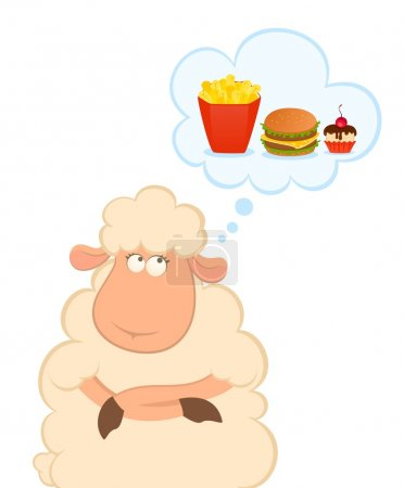 Vector illustration of cartoon sheep thinks about harmful fast food