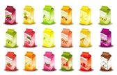Set of packing milky products with fruit - vector illustration