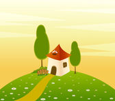 Vector Country landscape background with house and trees
