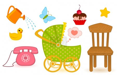 Illustration for Set of child objects isolated on white background - Royalty Free Image