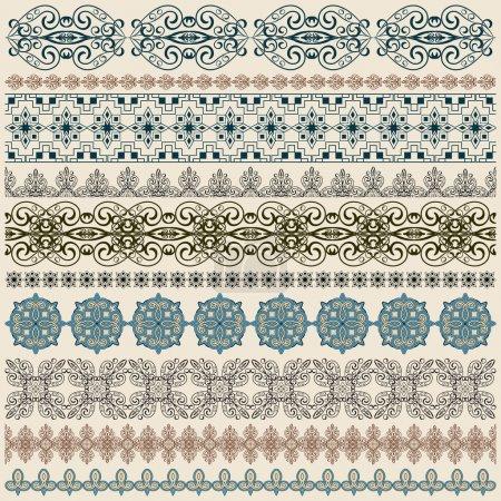 Illustration pour Vecteur dix motif de bordure vintage sans couture, brosses incluses - image libre de droit