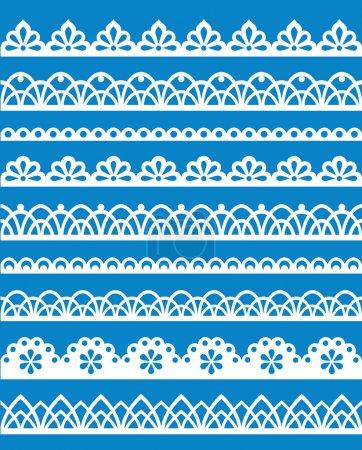 Illustration pour Ensemble de différents motifs de dentelle. PSE8 - image libre de droit