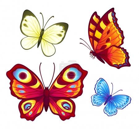 Illustration pour Ensemble de 4 papillons vecteurs lumineux - image libre de droit