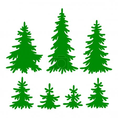 Set of vector Fir-trees silhouettes...