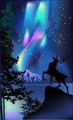Illustration with deer under aurora