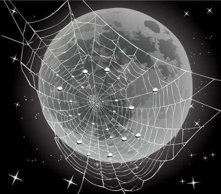 Spider web and drops on moon background