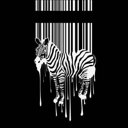 Illustration for Abstract vector zebra silhouette with smudges barcode - Royalty Free Image