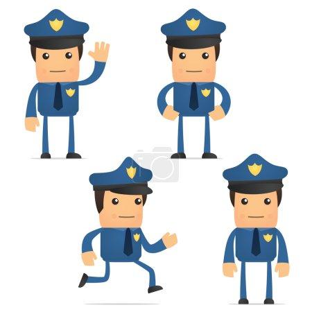 Illustration pour Ensemble de drôle de policier de bande dessinée dans diverses poses pour une utilisation dans des présentations, etc.. - image libre de droit