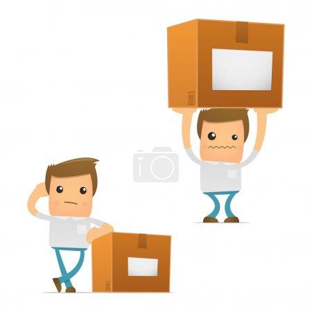 Illustration pour Jeu de dessin animé drôle homme occasionnel dans diverses poses pour une utilisation dans des présentations, etc.. - image libre de droit