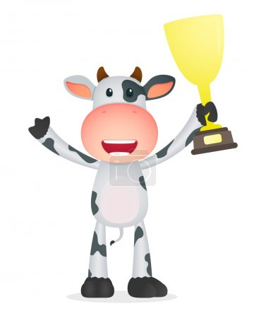 Illustration for Funny cartoon cow in various poses - Royalty Free Image