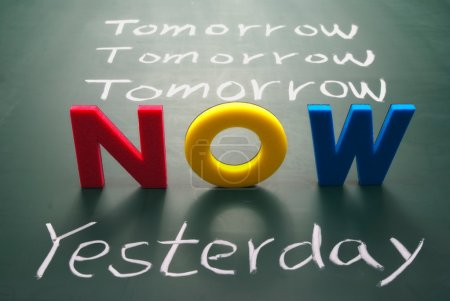 Photo for Now, yesterday, and tomorrow words on blackboard, Time concept. - Royalty Free Image
