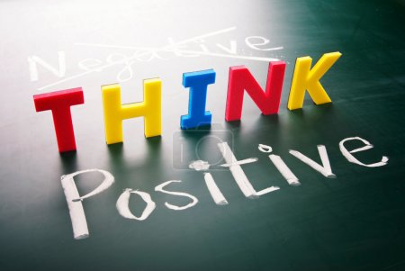 Photo for Think positive, do not negative, colorful words on blackboard - Royalty Free Image