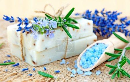 Photo pour Savon naturel, herbes et sel de bain - image libre de droit