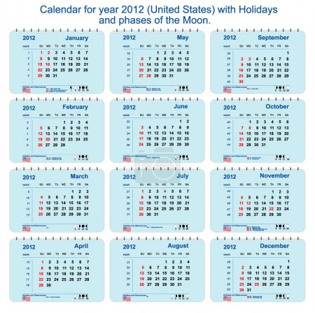 Vector Calendar of 2012 with phases of the Moon, numbering of weeks and hol