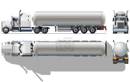 Vector hi-detailed tanker semi-truck