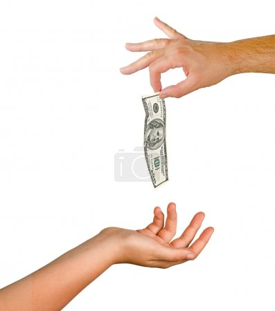 Hand with dollar banknote