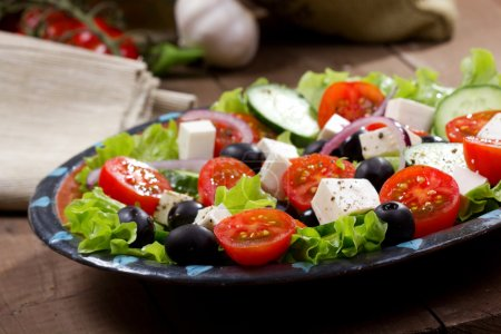 Greek salad with fresh vegetables and feta cheese...