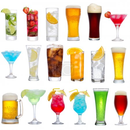 Photo for Set of different drinks, cocktails and beer on white background - Royalty Free Image