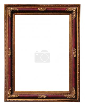 Photo for Antique wooden frame with gold ornament isolated on white. - Royalty Free Image