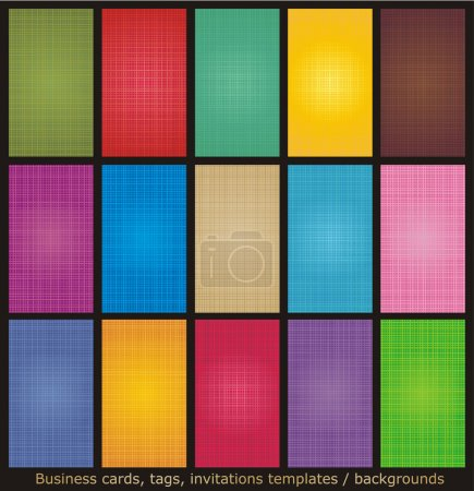 Illustration for Business cards, tags, labels, invitations, etc. backgrounds with fabric texture visible, vertical - Royalty Free Image