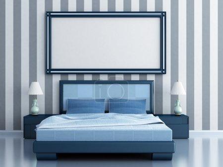 Photo pour Chambre avec un lit et tables de chevet dans les tons bleus - image libre de droit