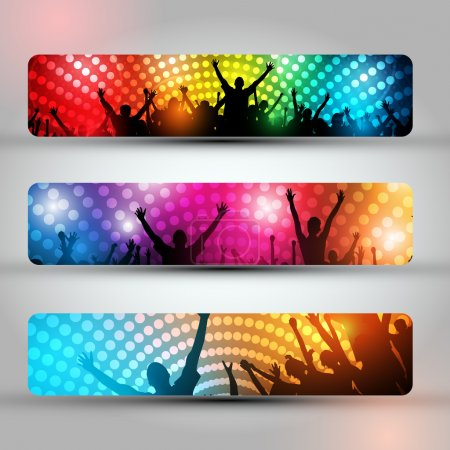 Illustration for EPS10 Set of Three Headers - Party Vector Background - Dancing Young - Royalty Free Image