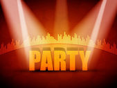 EPS10 3D Party Text with Colorful Lights Vector Design