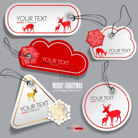 Illustration for Set of winter bubbles, stickers, labels, tags. Vector illustration - Royalty Free Image